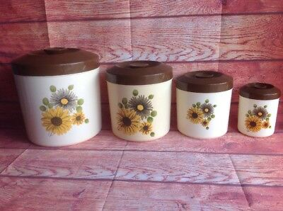 SET OF 4 RETRO British Plastics CANISTERS vintage Barrels Containers