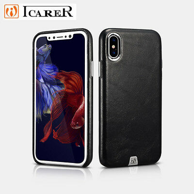 ICARER Luxury Vintage Genuine Leather Phone Case Cover For Apple iPhone X (10)