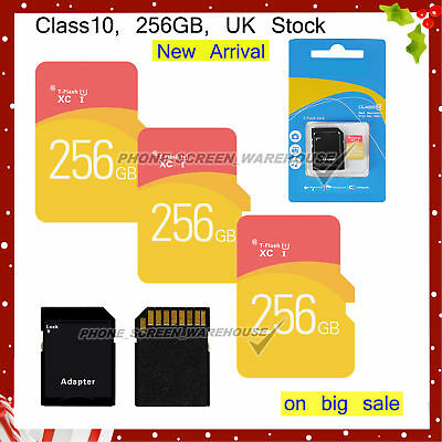 256GB Class 10 Micro SD Card & free Adapter For Smartphones Tablets Cameras etc