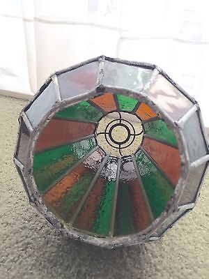 Vintage leaded frame stained glass shade chandelier pick up Oakleigh East VIC