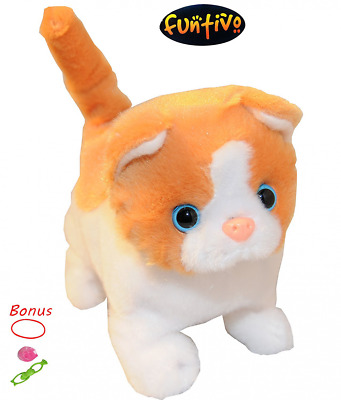 FUNTIVO Walking Cat with Sound and Super-Soft Fur, Batteries Operated Puppies To