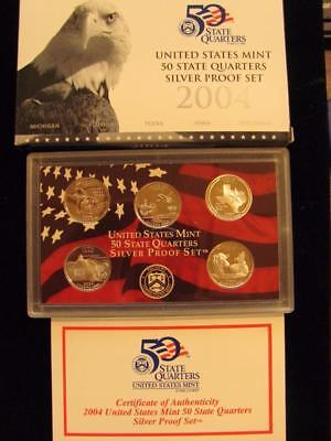 2004-S  State  Quarters  SILVER Proof Set 5 piece set NIB with COA (BC1)