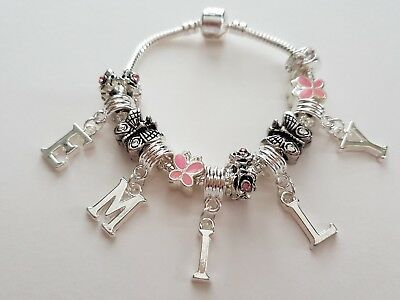 Girls Childs SP Personalised Any Name PINK Butterfly Charm Bracelet