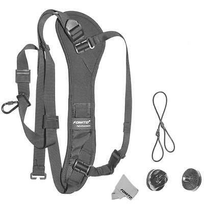 Q-1 Photo Rapid Fire Camera Neck Strap Black w/ Quick Release and Safety Tether