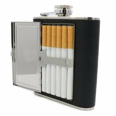 Stainless Steel Liquor Wine Alcohol Flagon Hip Flask + Cigarette Case Portable