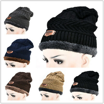 Outdoor Thick Beanie Hat for Men Women Warm Poly Fleece Lined Slouchy Winter Cap