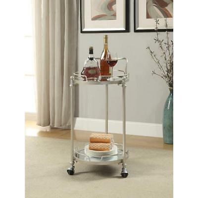 Mirror Bar Cart Glass Shelf Round Silver Finish Mobility Caster w/ Towel Bar New