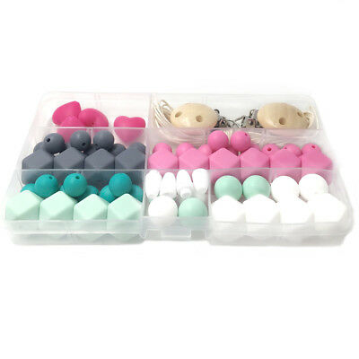Hexagon Silicone Teething Beads Kit Box Baby Chewable Teether Necklace Making