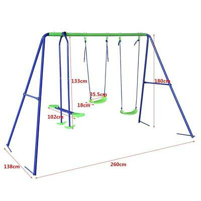 Outdoor 3 in 1 Kids Swing Seesaw Set with Metal Frame Ground Peg 180 KG Capacity