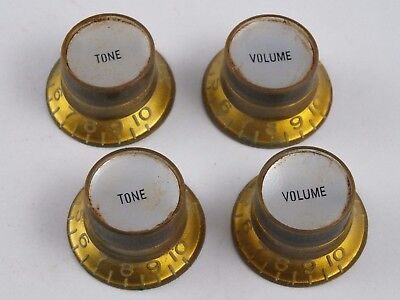 Vintage Relic AGED TINTED GOLD REFLECTOR KNOBS for USA Gibson guitars