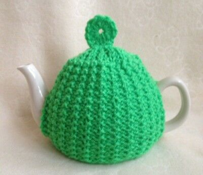 HAND KNITTED   TEA COSY  SMALL TEAPOT 2 cup size green