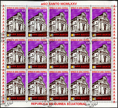 "Equatorial Guinea 1974, 15e ""Ano Santo"" Pope Paul VI Cto Used Full Sheet #V5650"