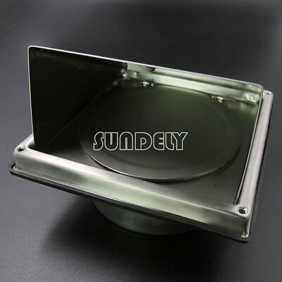 """150mm 6"""" Stainless Steel Wall Air Vent Square Metal hood vent AU"""
