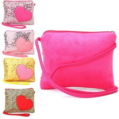 Mini Shoulder Bag Children Kids Girls Heart Sequin Messenger Handbag Purse Gifts