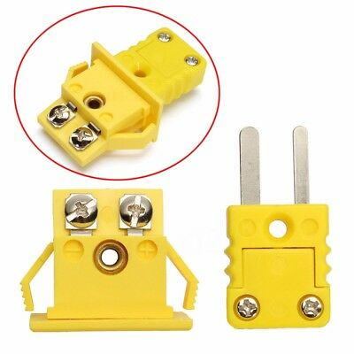 Plastic Shell K Type Panel Mount Thermocouple Socket & Plug Connector Set Yellow