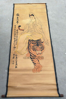 decoration Chinese hand painted painting Paper Guanyin and tiger mural LJ685