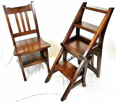 Beautiful Solid Mahogany Metamorphic Library Steps/chair. Free Delivery