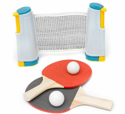 A to Z Portable Table Tennis Set with Retractable Net Paddles Balls New Boxed