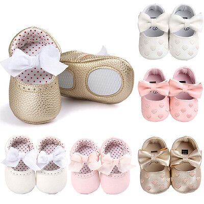 Newborn Infant Baby Girls Bowknot Anti-slip Soft Leather Party Shoes Sneaker Hoc