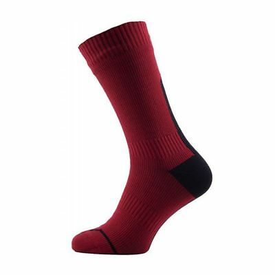 SealSkinz Road Thin Mid Waterproof Bike Cycling Cycle Socks - Red/Black - Large