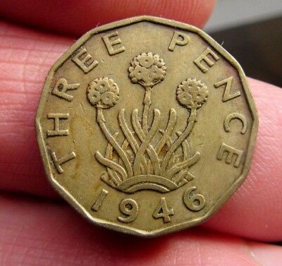 1946 Key Date Brass 3p King George Vi th Blossoming Thrift Plant Three Blooms