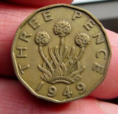 1949 Key Date Brass 3p King George Vi th Blossoming Thrift Plant Three Blooms