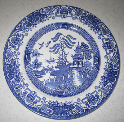 4 Willow Pattern Dinner Plates 24.5cm English Ironstone Blue And White