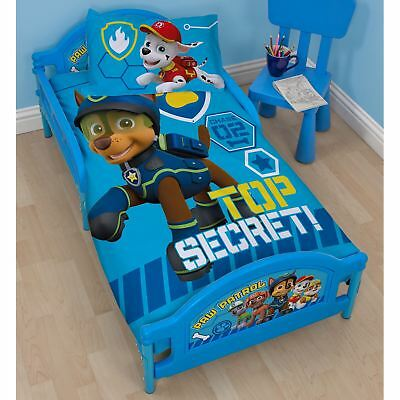 Paw Patrol Spy Junior Toddler Bed With Protective Side Panels Blue Official New