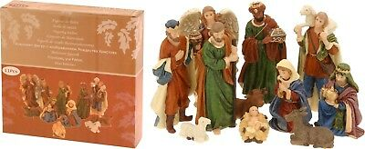 11 Piece Traditional Resin Small Christmas Nativity Figurine Display Set