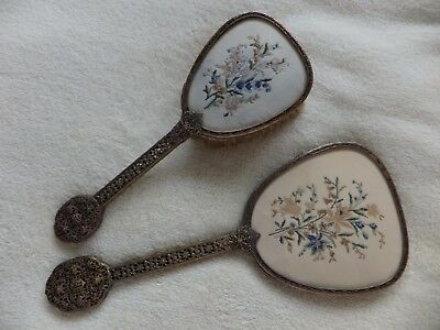 Vintage 2 Piece Glass Topped Petit Point Vanity / Dressing Table Set