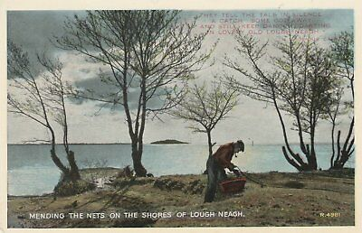 145 Postcard Mending The Nets On The Shores Of Lough Neagh