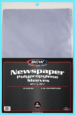 "25 BCW 12X19 NEWSPAPER 2 MIL STORAGE SLEEVES Clear Poly Art Photo Print 12""x19"""
