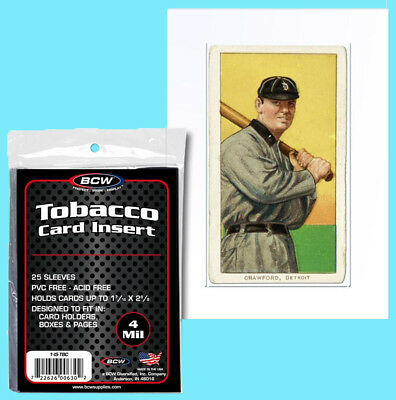 25 BCW TOBACCO CARD INSERT 4MIL SLEEVES Clear Soft Poly Allen Ginter Baseball