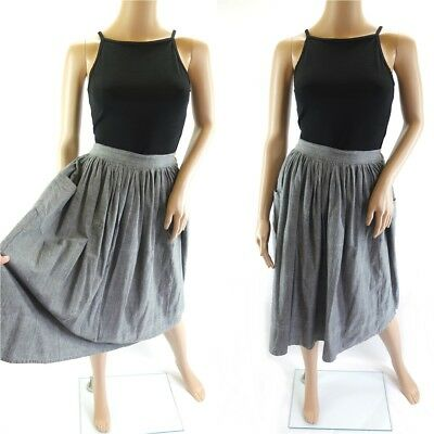 Vintage Grey Cotton Midi Skirt with Pockets - Size 8-10 UK