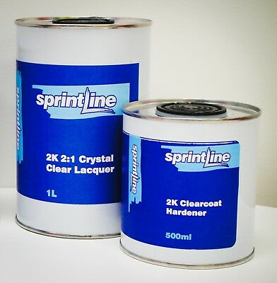 Sprintline 2K Crystal Clear Anti Scratch Clearcoat 1.5L Kit Lacquer Incactivator