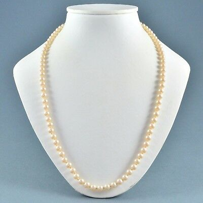 Vintage Necklace 1950s Hand Knotted Faux Pearl Silvertone Bridal Jewellery