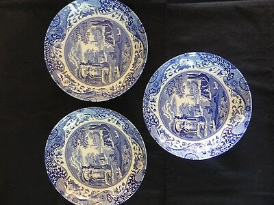 "Spode Blue Italian 8.5"" Pasta / Soup Bowls x 3. Excellent Condition."
