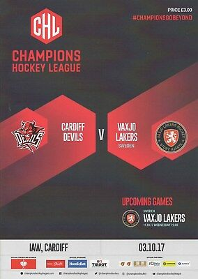 Oct 17 CARDIFF DEVILS v VAXJO LAKERS (Sweden) Champions League Hockey
