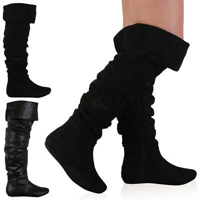 98D Womens Slouchy Ladies Long Over The Knee Flat Riding Boots Shoes Size 3-8