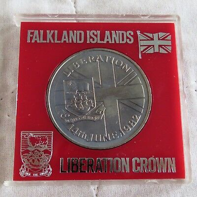 FALKLAND ISLANDS 1982 50 PENCE LIBERATION CROWN - cased