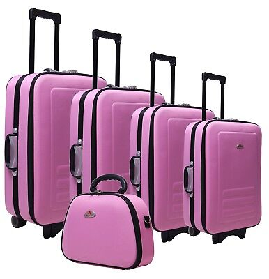 5pc Suitcase Trolley Travel Bag Luggage Set PINK
