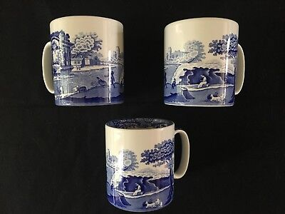 Spode Blue Italian Coffee Mugs. Set Of 3. Excellent Condition.