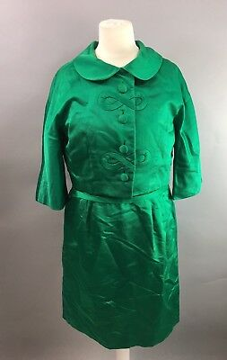 Vintage 1950s Emerald Green Dress Set