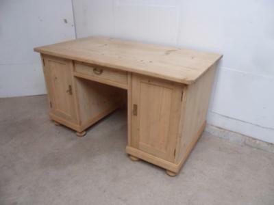 A Super Large 1930s Antique/Old Pine 2 Door 1 Drawer Office Desk to Wax/Paint