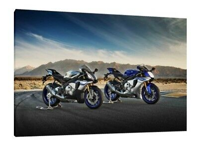 Yamaha YZF R1 & R1M - 30x20 Inch Canvas - Framed Picture Poster Print Art