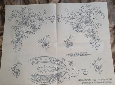 LARGE Vintage BRIGGS Iron on Embroidery Transfers - FLOWERS / GARLANDS etc