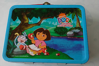 Explorer Dora - Small Metal Tin Lunch Box - Blue And Red