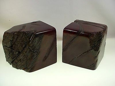 VINTAGE CALIFORNIA REDWOOD BOOKENDS 50's LIVE EDGE REDWOOD BOOKENDS BEAUTIFUL