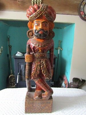 """Tall wooden carved figure. 18"""".Unusual/quirky/display/prop"""