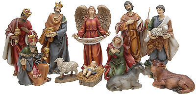 11 Piece Traditional Resin Christmas Nativity Figurine Display Set